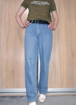 Широкие свободные голубые коттоновые джинсы слоучи бойфренды в стиле палаццо3 фото