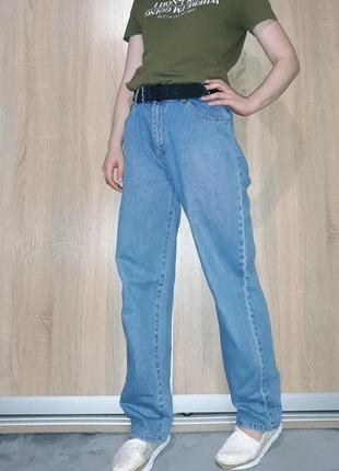 Широкие свободные голубые коттоновые джинсы слоучи бойфренды в стиле палаццо4 фото