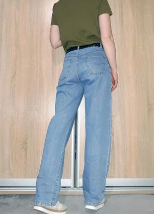 Широкие свободные голубые коттоновые джинсы слоучи бойфренды в стиле палаццо5 фото