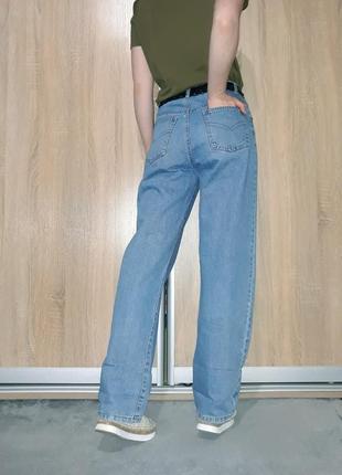 Широкие свободные голубые коттоновые джинсы слоучи бойфренды в стиле палаццо6 фото