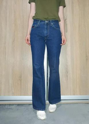 Плотные синие широкие винтажные джинсы клеш бойфренды street one
