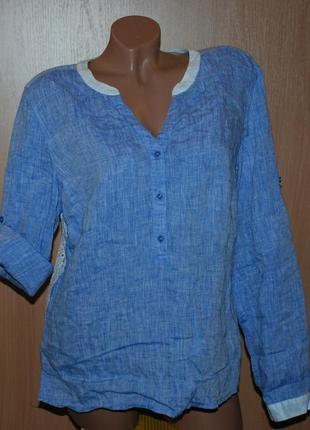 Блуза /100%лен / бренда apriori (германия) /регулируемый рукав / двухфактурная/