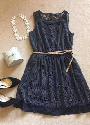 Летнее темно синие платье в горошек