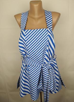 Блуза трендовая нарядная в полоску под пояс autograph uk 14/42/l
