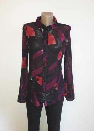 Блузка красная розовая черная bonita длинный рукав полупрозрачная