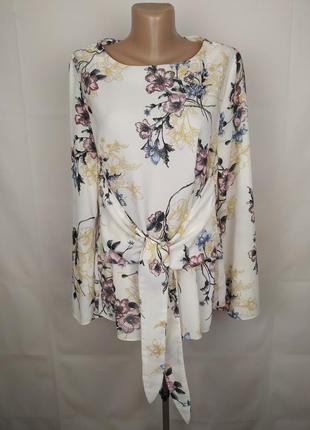Блуза красивая в цветочный принт с поясом george uk 16/44/xl