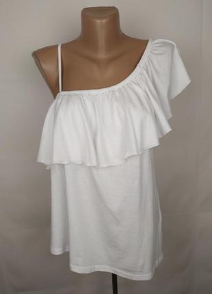 Блуза белая шикарная новая с оборкой трикотажная new look uk 14/42/l