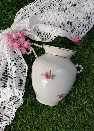 Ваза ссср барановка 40-50-е годы фарфор деколь роза