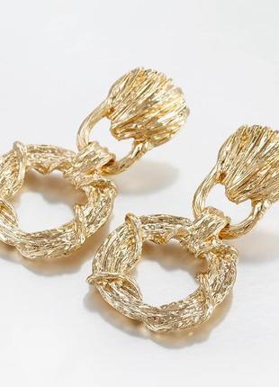 Серьги мятое золото золотистые удлиненные