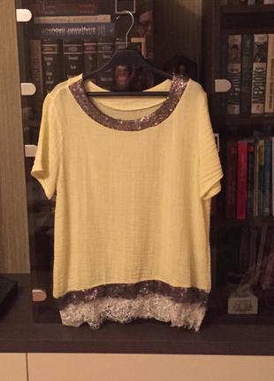 Красивая летняя блузка лимонного цвета