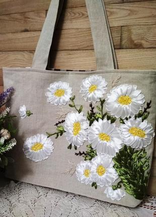 Эко-сумка, лён, вышивка лентами, ромашки, ручная работа.
