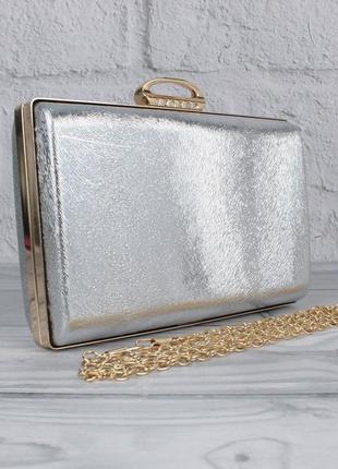 Вечерний клатч rose heart 8800 серебристый, сумочка на цепочке