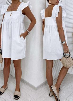Платье сарафан летний , коттон , белое