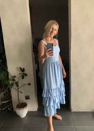 Платья мини с юбкой воланами голубого цвета
