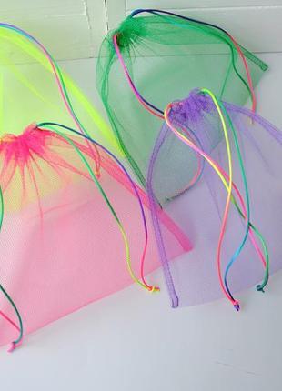 Набор эко мешочков из сетки, эко торбочки, мешки для продуктов, еко мішки із сітки 02(1)