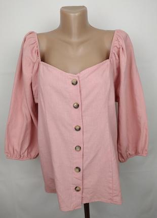 Блуза натуральная новая нежно розовая f&f uk 16/44/xl