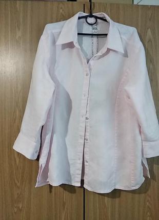 Льняная нежно-розового цвета рубашка