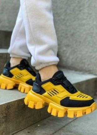Последние пары! женские чёрные жёлтые кроссовки prada