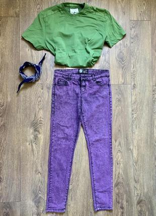 Джинсы, джинсы скинни, джинсы фиолетовые, джинсы стрейчевые