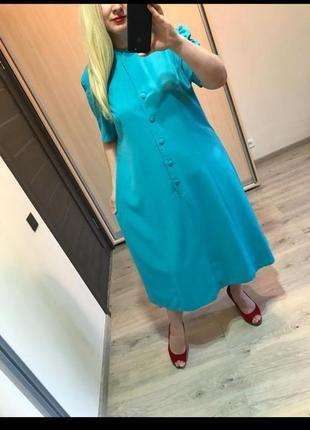 Английское натурвльное платье рубашка большого размера батал