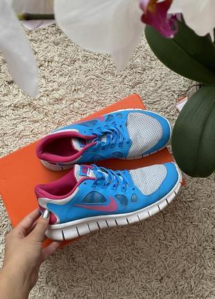 Синие, розовые оригинальные кроссовки найк nike free 5.0