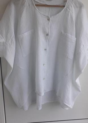 Sarah  льняная шикарная белая оверсайз блуза.лен,котон.