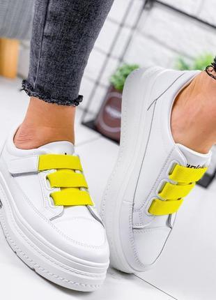 Кроссовки женские glowi белый + желтый