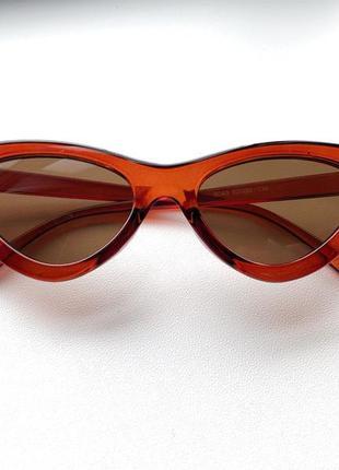Женские стильные коричневые очки cat eye