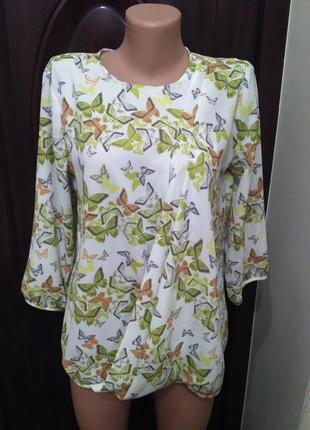 Next свободная лёгкая блуза, блузка в бабочках 12 размер