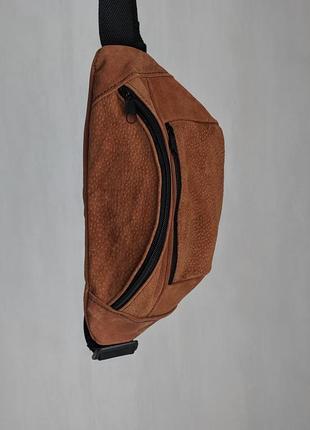 Большая бананка из натуральной кожи, сумка на пояс вместитетльная рыжая кожа б6
