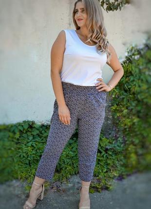 Укороченные летние брюки больших размеров, жіночі штани батал, штани плюс сайз