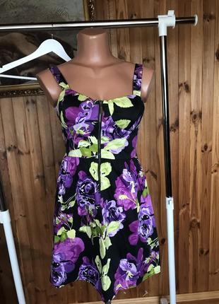 Короткое платье сарафан в фиолетовые розы секси цветочный принт тренд