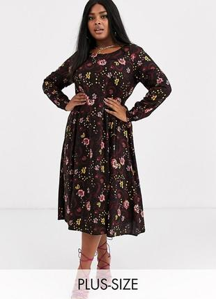 Платье миди из вискозы в цветочный принт с длинными рукавами asos
