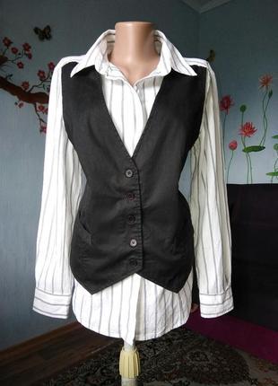 Хлопковая рубашка с жилетом