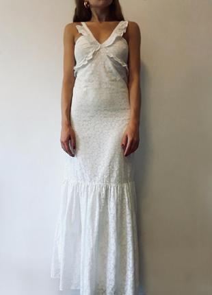 Белое платье/сарафан максив мелкий цветочный принт от kookai