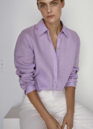 Льняная рубашка massimo dutti текущая коллекция
