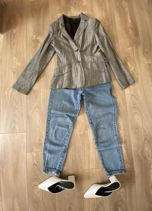 Серый приталенный пиджак