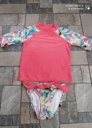 Купальник футболка для плавання купальний костюм для дівчинки