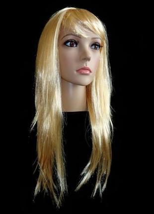 Парик маскарадный блонд прямые длинные волосы