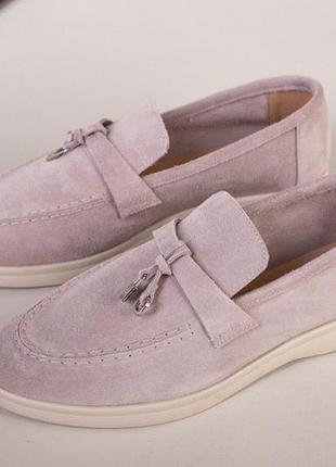 Замшевые туфли на низком ходу