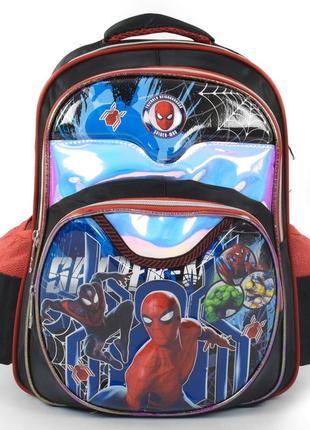 Школьный рюкзак для мальчиков черный человек паук и герои 3421-26
