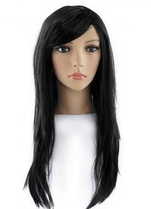 Парик черный маскарадный длинные волосы