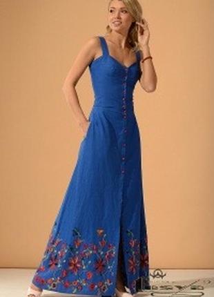 Шикарный льняной костюм в пол с красивой вышивкой, р 42-44