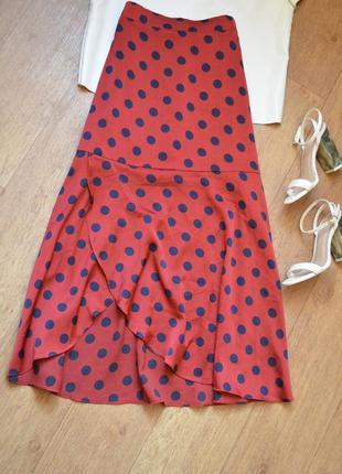 Couture стильная легкая бордовая юбка в горошек марсала миди под шелк как шелковая