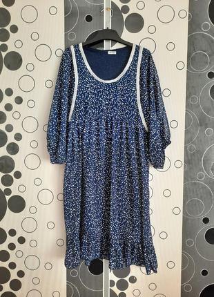 Трендовое шифоновое миди платье в горошек в прованском стиле