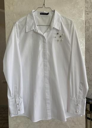 Белая рубашка с жемчугом бренда jette. размер s-м.