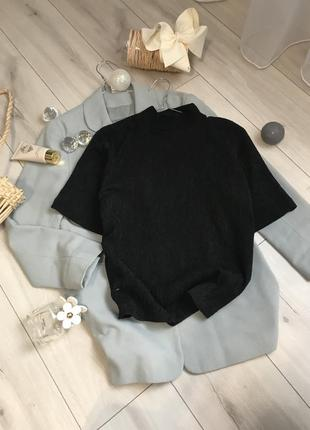 Базовий гольфик укоротчений рукав джемпер реглан водолазка блуза футболка