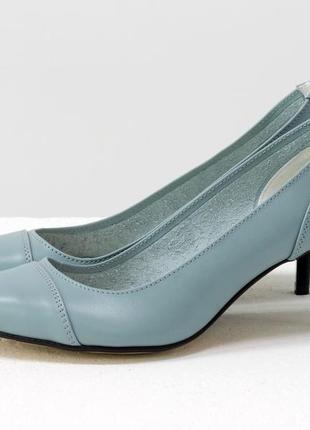 Кожаные голубые туфли на небольшом каблучке 6,5 см