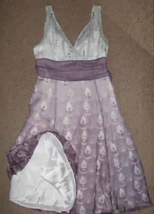 Платье шелковое двухцветное