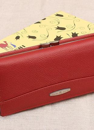 Женский кожаный кошелек kochi красный 807r